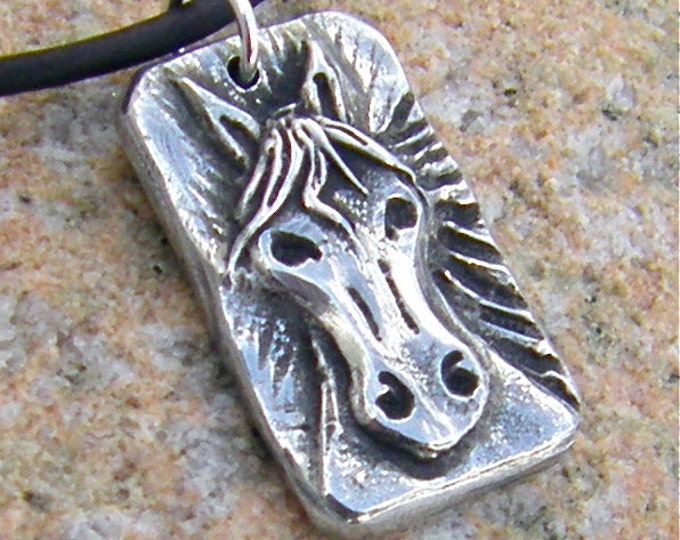 Horse Head Necklace, Rustic Horse Pendant, Cute Pony Jewelry