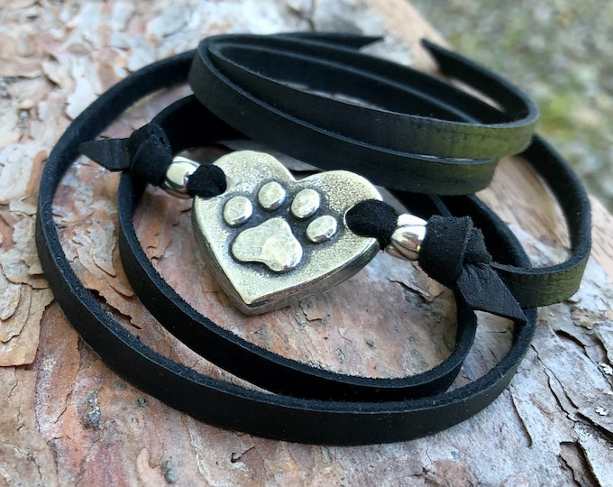 Paw Print on my Heart Wrap Bracelet, Adjustable