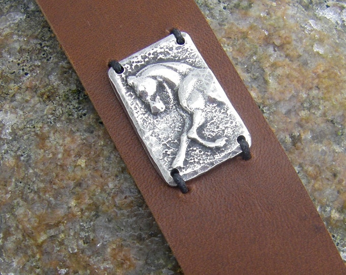 Sculptural Horse Cuff Bracelet, Chocolate Brown Leather and Pewter