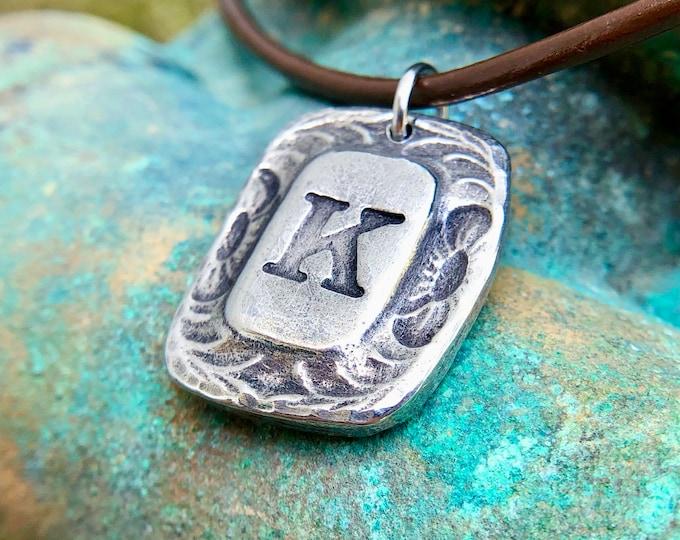 Western Monogram Necklace, Rustic Letter Pendant
