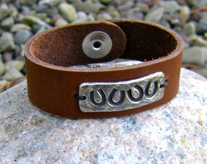 Horse Shoe Leather Cuff Bracelet, Rustic Leather and Pewter