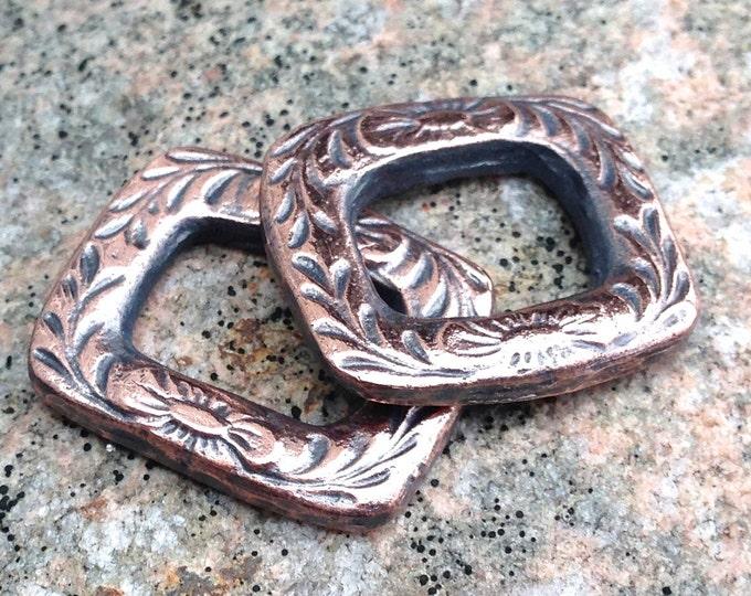 Floral Copper Connector, Rustic Bracelet Link