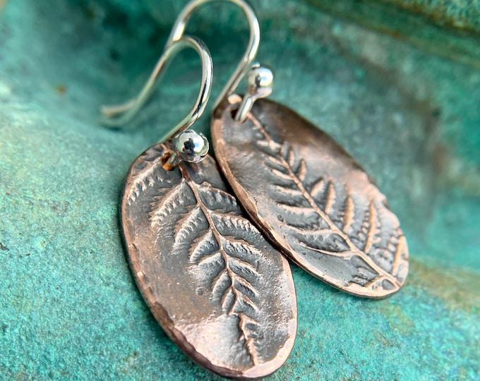 Oval Copper Fern Earrings, Sterling Silver Earwires, Rustic Forest Foliage