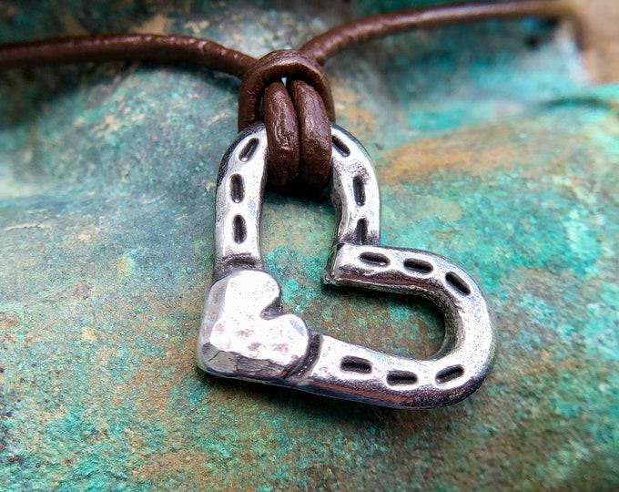 Heart and Horse Shoes Necklace, Horseshoe Love Pendant