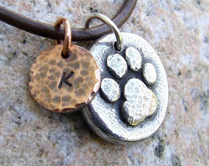 Personalized Pet Name Necklace, Memorial Necklace, Mixed Metal
