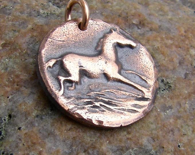 Copper Happy Horse Pendant