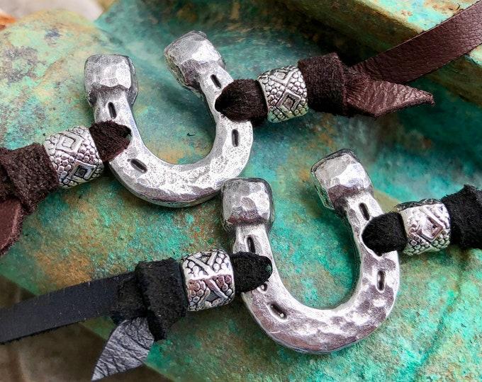 Hammered Horse Shoe Wrap Bracelet, Brown or Black Leather Adjustable