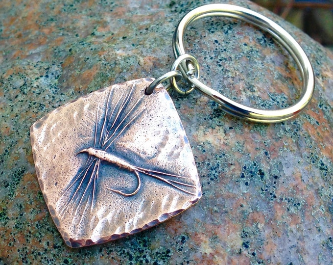 Copper Dry Fly Key Chain, Fly Fishing Gift