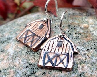 Copper Barn Earrings, Sterling Silver Ear Wires, Rustic Farm Jewelry