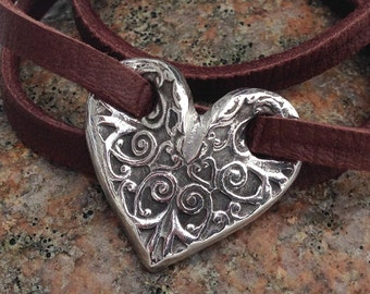 Adjustable Heart Wrap Bracelet, Leather and Pewter, Brown, Black
