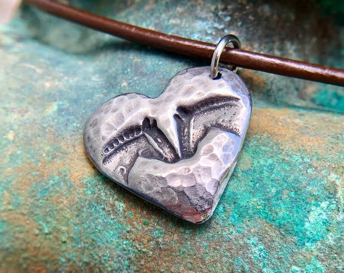 Horse Pals Necklace, Horse Head Heart Pendant, Rustic Equine Jewelry