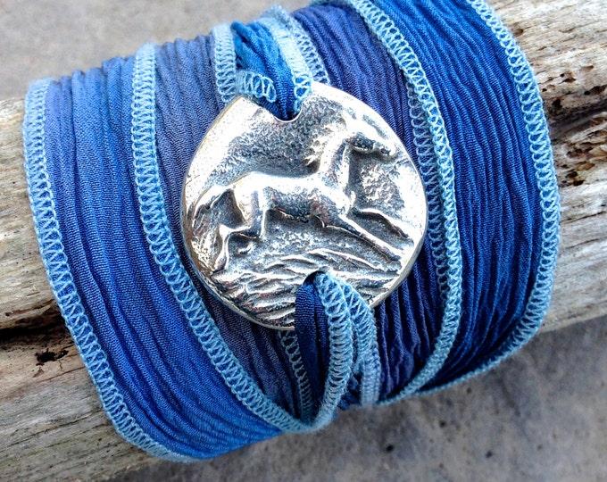 Running Horse Bracelet, SIlk Ribbon  Adjustable Wrap, Boho, Blue, Purple, Green
