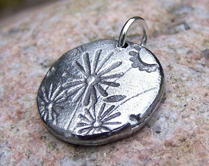 Little Wildflowers Pendant, Rustic Pewter Flower Charm