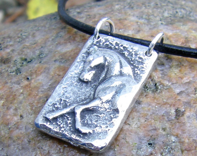 Sculptural Horse Necklace, Rustic Horse Pendant, Equine Jewelry