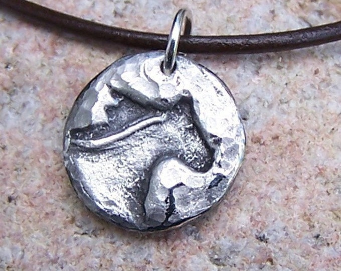 Running Horse Head Necklace, Rustic Horse Jewelry, Hand Cast Mustang Pendant
