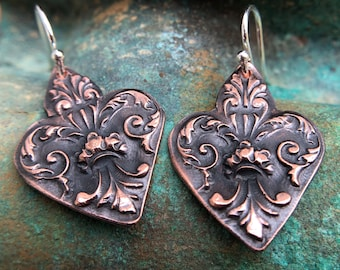 Copper Fleur de lis Earrings with Sterling Silver Earwires, Mixed Metal Earrings