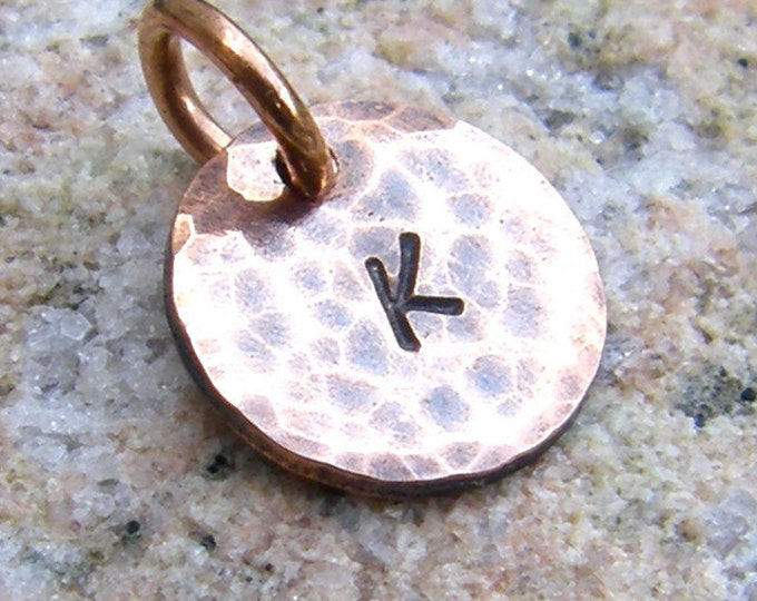 Tiny Copper Tag Charm, Hand Stamped Letter, Custom Initial
