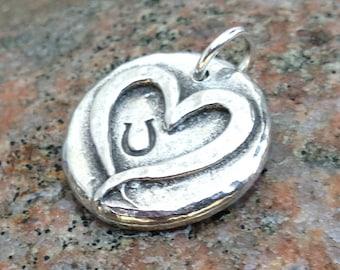 Hoof Print on my Heart Pendant, Heart Hoofprint Charm, Rustic Horse Jewelry