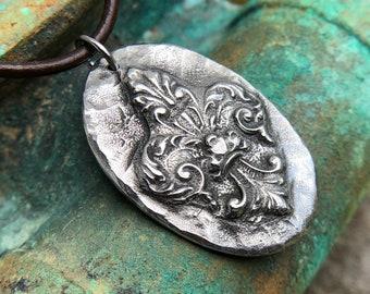 Fleur de lis Necklace, Rustic Jewelry, Hand Cast Pewter Pendant
