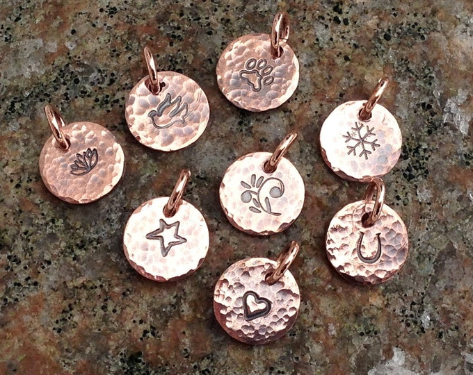 Tiny Hammered Copper Tag, You Choose Design Charm, Hand stamped