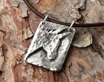 Donkey Necklace, Mini Donkey Jewelry, Mule Silhouette Pendant