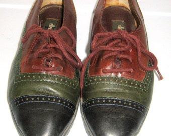 3b57174e86ad15 Vintage Leather Oxfords Multicolor Womens Sz 7 Womens 90s Cap Toe Lace Up  Flats