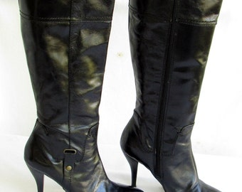 611b60063ed 90s Black Leather Knee High Boots Pointed Toe High Heel Stiletto Boots Sz  7.5 Y2K Zip Up Boots