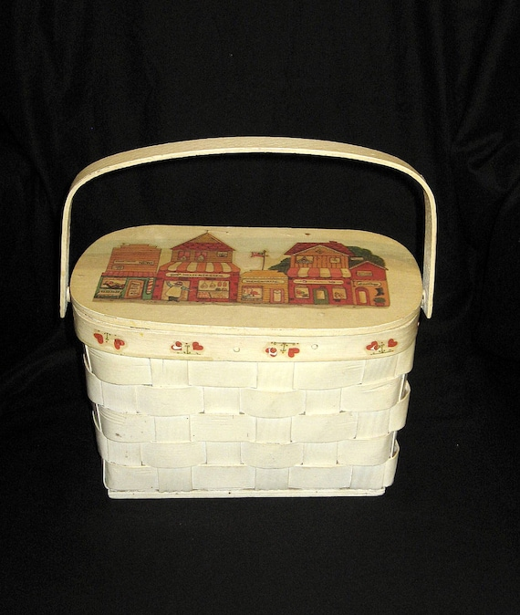 1950s Hand-painted Basket Purse with Store Fronts/