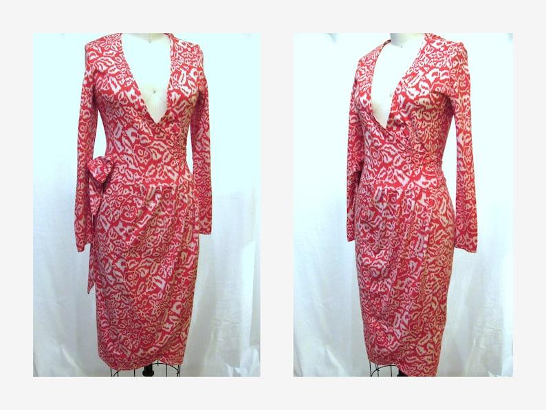 decb67be0a Diane Von Furstenberg Wrap Dress Vintage 80s Red and White DVF | Etsy
