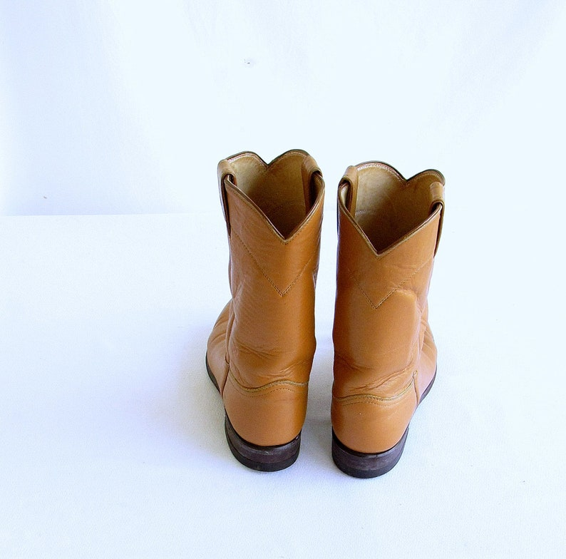 2fe25f311ad Sz. 6.5 Justin Roper Boots Womens Tan Leather Western Cowboy Boots Vintage  80s Made in USA