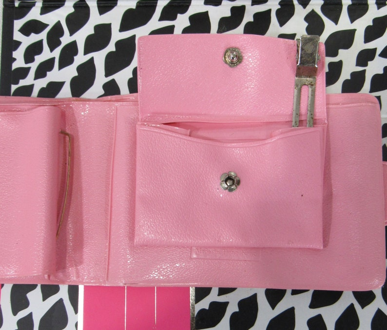 Vintage 50s Pink Vinyl Wallet with Coin Purse and Beaded Floral Photo Frame Mothers Day Gift