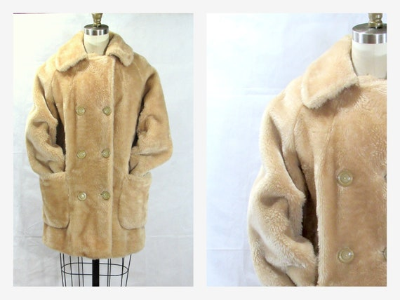 Vintage Tan Faux Fur Lined Winter Jacket