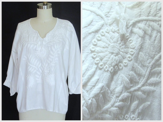 1940s hand embroidered blouse / vintage 40s white