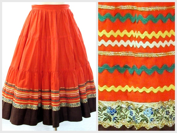1950s Skirt, Burnt Orange Ric Rac Rockabilly,  Hal