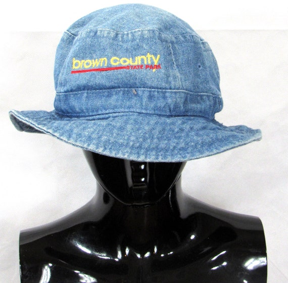 90s Blue Denim Bucket Hat/ Old School Blue Wash/ T