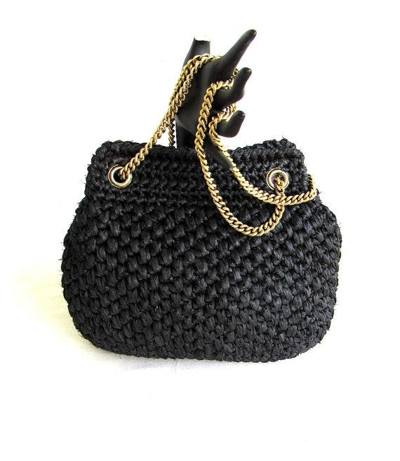 7ada8f99f7 Small Black Raffia Chain Shoulder BagVintage 60sRectangle