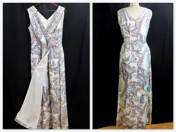 1950s Floral Hostess Dress- 50s Maxi Hostess Gown
