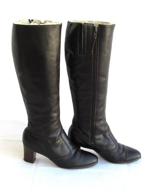 1960 Brown Leather Boots-  Fur Lined, 60s Mod Go G