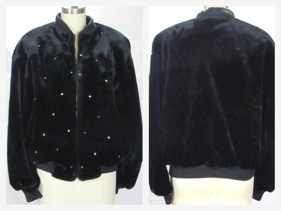 1980s  Black Faux Fur Bomber Jacket  Donnybrook wi
