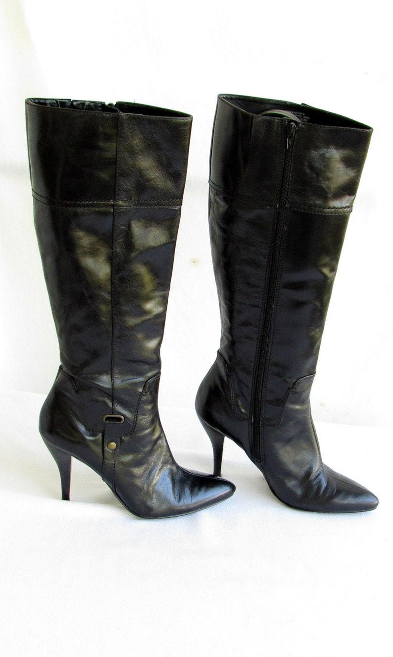 a88026b8158 90s Black Leather Knee High Boots Pointed Toe High Heel
