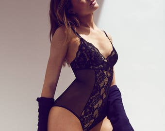 Bodysuit - See Through Black Mesh and Stretch Lace 'Angelica' Style Lingerie