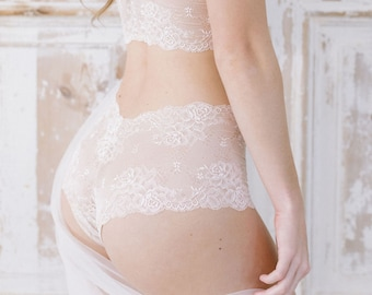 Lace Cheeky Panties - Blush Sheer Lacy Panty - Handmade Custom Fit Lingerie - 'Forget Me Not' Style