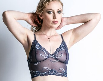 Ready to Ship - S, M, or L - Sheer Lace Bralette - See Through Blue 'Sassafras' Bra - Lingerie