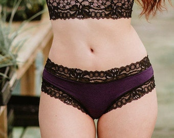 Lingerie - Organic Cotton Panties in Purple and Black French Lace - 'Narcissus' Style Panty - Custom Fit Made To Order