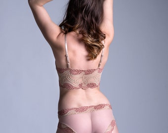 f1be443c3ca LAST ONE - Size Small - Ready To Ship - Sheer Panties - 'Lily of the Valley'  Style See Through Nude Mesh with Nude and Champagne Lace Panty