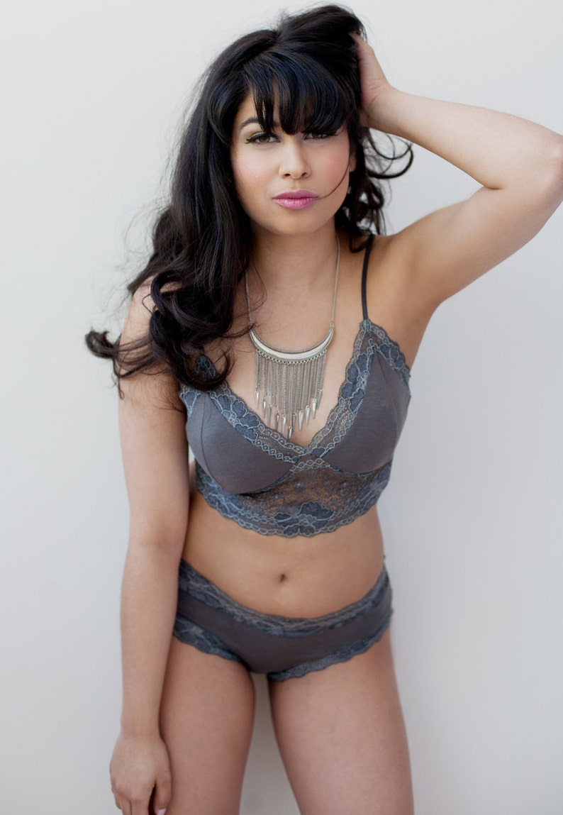 2b5e841d22b4 Bamboo Cotton Blend Bra With French Lace Gray | Etsy