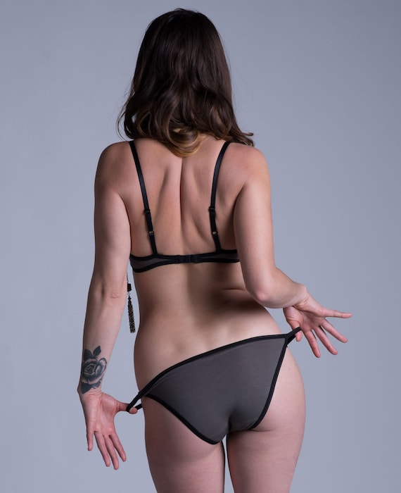 BambooCotton Bra with Adjustable Back Hook Closure Made To Order Lingerie /' Bird of Paradise/' Bra Gray with Black Lace