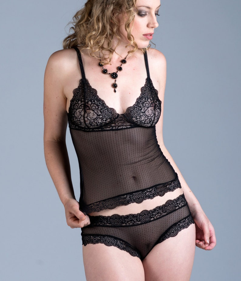 d29afc8b8 Sheer Black Camisole See Through Mini Dot Micromesh and Lace