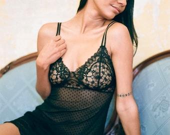 Velvet polka dot mesh sheer nightie - 'Blazing Star' black nightgown - See through lingerie - Loungewear