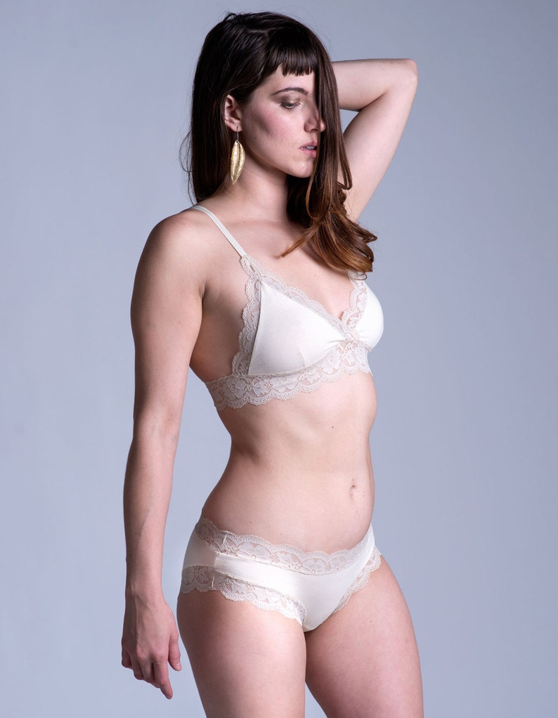 Organic Cotton Bra - Lingerie - Ivory and Cream Cotton and Lace  Gloriosa   Bralette - Made To Order 8766a7f1c